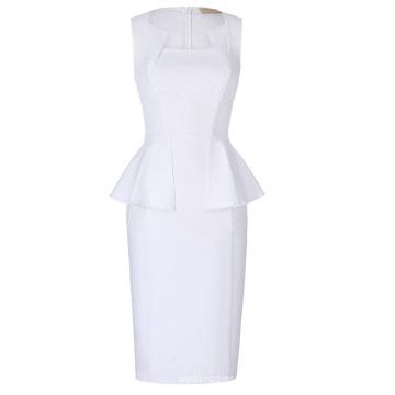 Kate Kasin sin mangas clásico de las caderas-envuelto retro vintage blanco Bodycon lápiz vestido KK000390-2