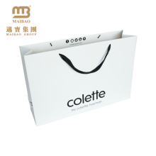 OEM Customized White Cardboard Gift Shopping Packaging Custom Print Paper Bag With Ribbon Handle