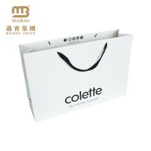 Saco de papel feito sob encomenda de empacotamento personalizado OEM da cópia da compra branca do presente do cartão com punho da fita