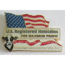 Pin de solapa corporativo de latón America con logotipo impreso (insignia-205)