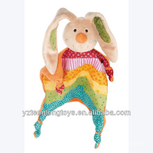 2014 New Product Rainbow Rabbit Soother Baby Soft Bunny Toy Security Blanket