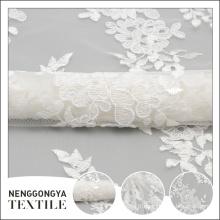 Tissu en gros de broderie de fleur faite sur commande en gros de tissu de décoration de mariage blanc