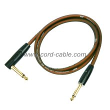DFS Series Professional Instrument Guitar Cable Jack 90° to Jack Brown