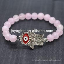 Diamante Evil Eye With 8MM Semi Precious Stone Stretch Bracelet