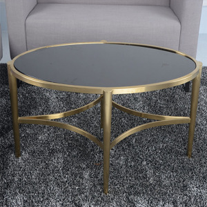 Brassy Stainless Steel Round Coffee Table