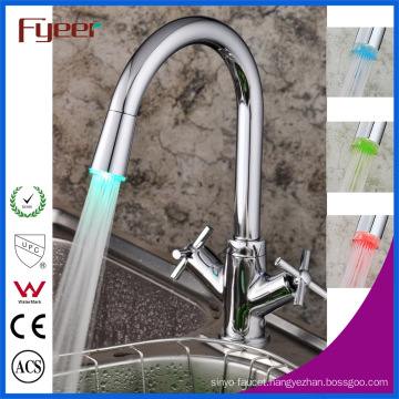 Fyeer Double Cross Handle LED Kitchen Sink Mixer Tap (QH1893F)