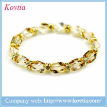 2015 nova chegada topázio contas pulseira de cristal de luxo talão pulseira jóias de moda