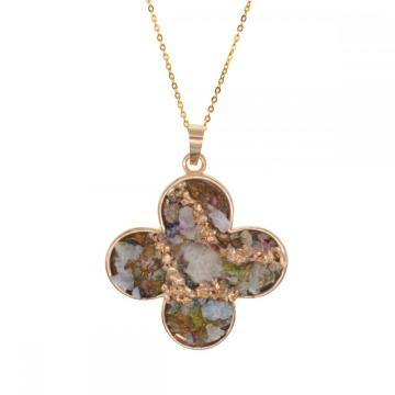 Natural Drusy Crystal Gemstone Women Pendant Necklace