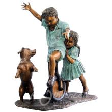 Grandes sculptures de cuivre en plein air métal artisanat garçon bronze statue