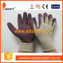 T / C Hilados de punto Shell látex guantes de trabajo Dkl330