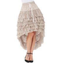 Belle Poque Women Ladies Amelia Steampunk Elastic Waist Ruffled Lace Cake Skirt BP000221-1