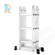 Aluminium-Leiter-Bücherregal mit 4 * 4 Stufen, Mehrzweckleiter, Aluminium-Klappleiter
