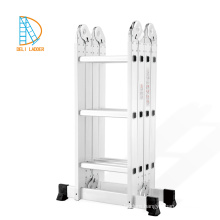 Aluminum Ladder Bookcase with 4*4 steps, ladder multipurpose, aluminum foldaway ladder