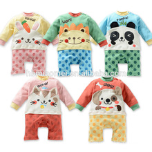 2016 new design animal printed baby girl romper for spring and autumn