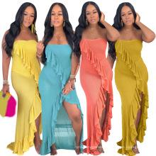 Superstarer Fashion Trend Hot Sale Summer New Design Female Elegant Party High Slit One-Piece Dress