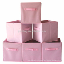 Cute cube canvas foldable fabric toy storage boxes with lids