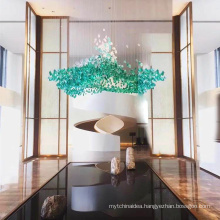 Custom made modern luxury yellow,red,green color shaped glass art stone glass chandelier for hotel