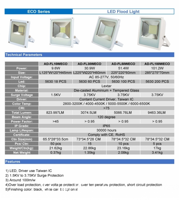ECO lled flood light
