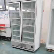 exhibición de la puerta de cristal del refrigerador del supermercado