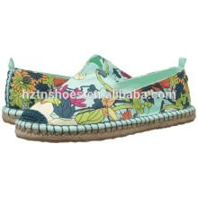 Jute Sole Printed Espadrille Ladies Fancy Flat Casual Shoe