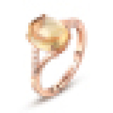 Woman′s 925 Sterling Silver Inlaid Yellow Agate Opening Ring