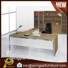 Simple light color office desk design without return