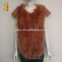 Dernières dames colorées à manches courtes en plume de Turquie et fourrure de lapin pour femmes