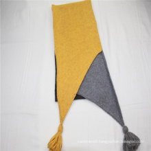 high quality asymmetry long scarf  fringe on two side knitted scarf wool scarf