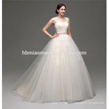 sexy blanco ver a través de la longitud del piso de cuello alto apliques largas telas vestido de novia con cola