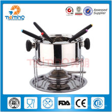 stainless steel alcohol stove with 6 forks
