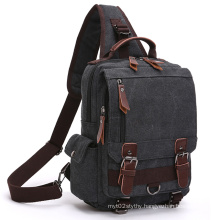 Fresion Vintage Canvas PU Leather Military Utility Shoulder Messenger Cross Body Bags Gray