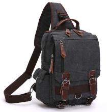 Fresion старинные холст PU кожаный Военная Полезность плечо Messenger крест тело сумки-серый