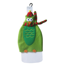 Christmas owl pattern wine bottle cover
