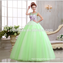 2017 Floor length elegant green sweetheart puffy ball gown vintage wedding dresses