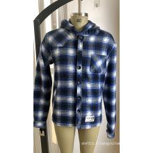 Chemise à capuche en flanelle 10% laine 90% polyester