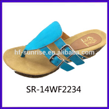 New arrival-Ladies confortable fake leather upper rubber slipper cork sole slipper ladies flat slipper