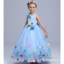 vestidos de fiesta de alta calidad del bebé bailando fantásticos vestidos largos con flores appliqued baile de la escuela bailes de hadas mullidas