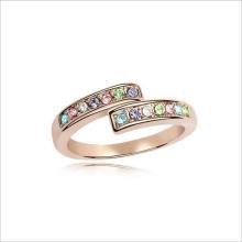 VAGULA Rhinestone colorido anillo de joyas de oro de la manera