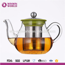 Vente chaude utile cadeau promotionnel adapté aux besoins du client résistant à la chaleur Borosilicate verre théière infuseur