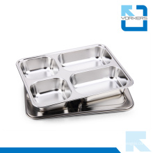 Children Stainless Steel Lunchbox & School Lunch Tray with 4 Dividers
