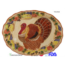 Ceramic Hand Painted Turkey Platter for Wholesale