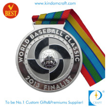 Hot Sale Customized Zinc Alloy Stamping 3D Silver Plating Baseball Medal with Ribbon
