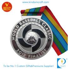 Liga de zinco personalizada de venda quente que carimba a medalha do basebol do chapeamento de prata 3D com fita