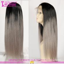 Ombre brésilien cheap wholesale perruques avec cheveux gris chaud vente perruques gris homme fait perruques de cheveux humains gris argent