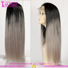 Wholesale cheap brazilian ombre wigs with grey hair hot sale grey wigs man made silver grey human hair lace wigs