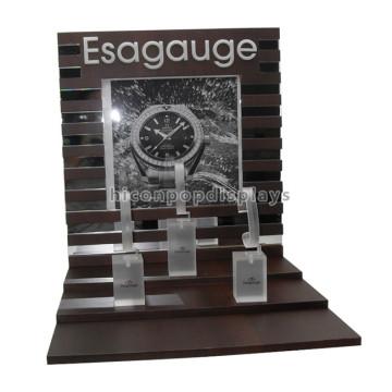 Wirtschaftliche Luxus-Produkte Einzelhandel Store Custom Brown Solid Wooden Digital Watch Display Zähler