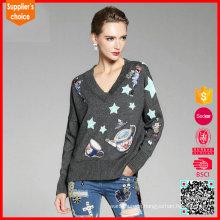 Neueste Design lange Ärmel stricken benutzerdefinierte Intarsia Jacquard Pullover Pullover