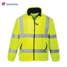 Veste de travail chaude polychrome jaune de haute qualité avec la bande réfléchissante et la sécurité d'hiver de la classe 3 de poches