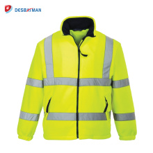 High Quality Yellow Full Color Warm Work Jacket With Reflective Tape and Pockets Class 3 Winter Safety