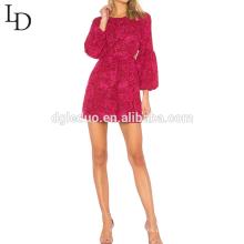 Novas mulheres da moda festa vermelho sexy balão manga longa noite lace mini vestido